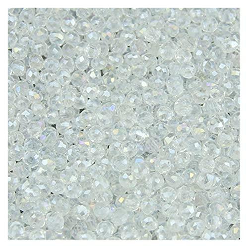 Joyería para hacer cuentas redondas de 3 mm, 200 piezas de bolas de vidrio sueltas para hacer joyas DIY para pulseras de joyería (color: blanco)