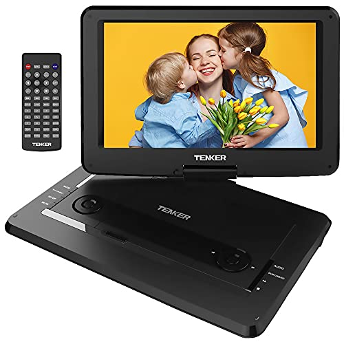 """TENKER 17.9  Portable DVD Player with 15.6"""" Swivel Screen, 4 Hours Rechargeable Battery with SD Card Slot and USB Port, with 1.8M Car Charger, Black"""