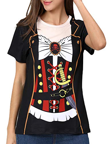 COSAVOROCK Disfraz de Pirata para Mujer Camiseta (L, Negro)