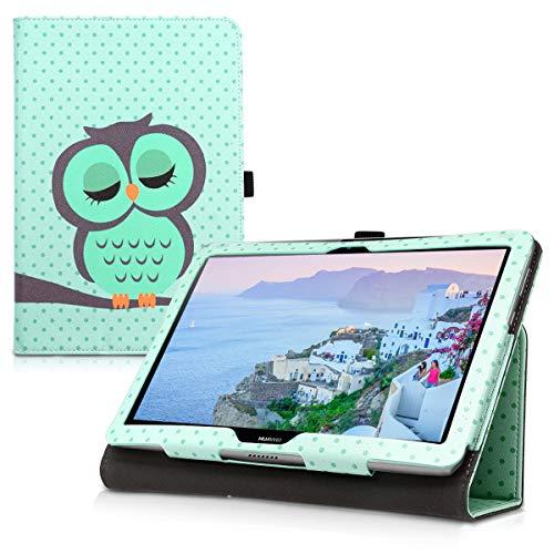 kwmobile Hülle kompatibel mit Huawei MediaPad T3 10 - Slim Tablet Cover Hülle Schutzhülle mit Ständer Eule Schlaf Türkis Braun Mintgrün