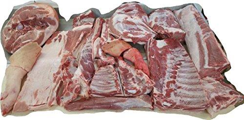 Frisches, halbes Schwein aus artgerechter Strohhaltung, küchenfertig zerlegt, gefroren, 25 kg, Hof Heseker