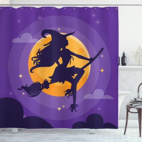 ABAKUHAUS Dunkelviolett Duschvorhang, Hexenbesen Silhouette, Moderner Digitaldruck mit 12 Haken auf Stoff Wasser und Bakterie Resistent, 175x200 cm, Indigo Marigold Violet