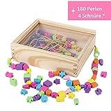B&Julian® Perlen zum auffädeln für Kinder ab 3 Jahre Holz Fädelspiel Spielzeug Perlenset Bastelset 180 Holzperlen Schmuck zum basteln mit Bändern in Holzkiste mit Deckel Set