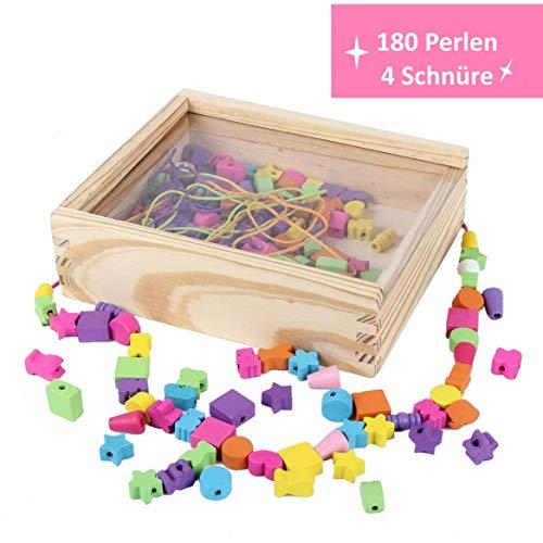 B&JulianEnhebrado de Joyas de Madera con 180 Cuentas 4 Cintas de Colores en Caja de Madera con Tapa fácil de Transportar para niños a Partir de 3 años