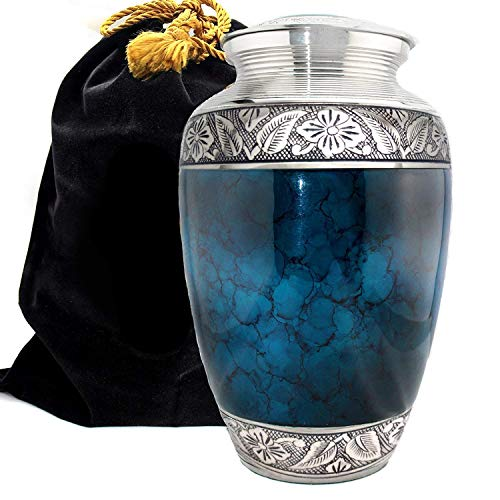 Prime Preferred Choice Moonstone Blue Cremation Urns for Human Ashes Adult, Urns for Ashes, Cremation Urns for Adult Ashes 200 Cubic Inches (Moonstone Blue, Large/Adult)