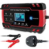 CQWL Car Battery Charger, 12V 24V 3-Stage Automatic Trickle Battery Charger Maintainer Intelligent Battery Charger with LCD Screen UK Plug for More Types of Batteries