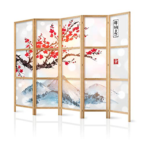 murando - Biombo XXL Flor de Cerezo Montanas 225x171 cm 5 Paneles Lienzo de Tejido no Tejido Tela sintética Separador Madera Design Moda Hecho a Mano Home Office Japón p-B-0002-z-c