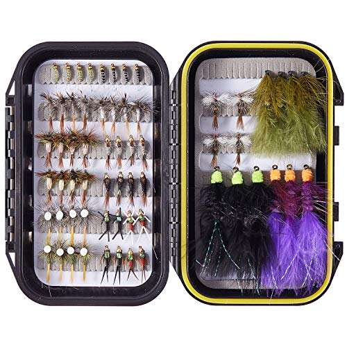 Bassdash Fly Fishing Flies Barbed or Barbless Fly Hooks 60/62pcs Include Dry Wet Flies Nymphs Streamers for Trout Salmon Steelhead Grayling Fishing with Waterproof Fly Box