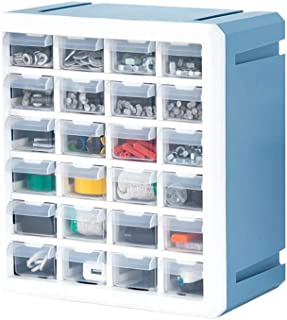 Things Plastic Organizer Box, 24 Adjustable Compartments, Stackable Storage Container, for Small Parts, Handicrafts, Hardware, Building Blocks, Jewelry, Blue