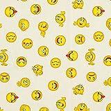 Dekostoff Halbpanama Emoji – beige — Meterware ab 0,5m