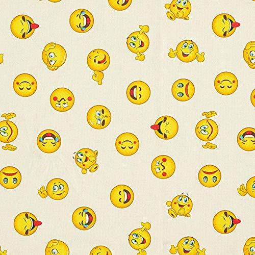 Fabulous Fabrics Dekostoff Halbpanama Emoji – beige — Meterware ab 0,5m — zum Nähen von Homeaccessoires, Tischdecken und Taschen
