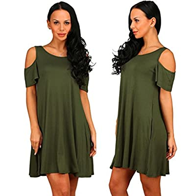 TAORE Women Summer Cotton Loose Solid Off-Shoulder Casual Sundress Mini Dress Tunic Polo Tee