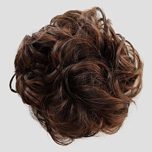 PRETTYSHOP Haarteil Haargummi Hochsteckfrisuren unordentlicher Dutt gewellt VOLUMINÖS braun mix #4/30A G26A