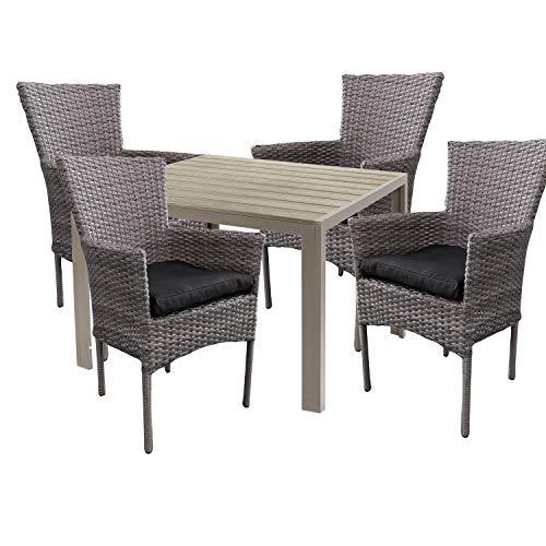 Mojawo hoogwaardige tuinset 5-delig tuintafel 90x90cm champagne aluminium/polywood champagne + 4 rotan stoelen grijs gemêleerd