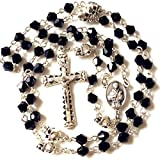 elegantmedical silver skull Beads black Crystal 5 Decade rosary cross crucifix Catholic Necklace