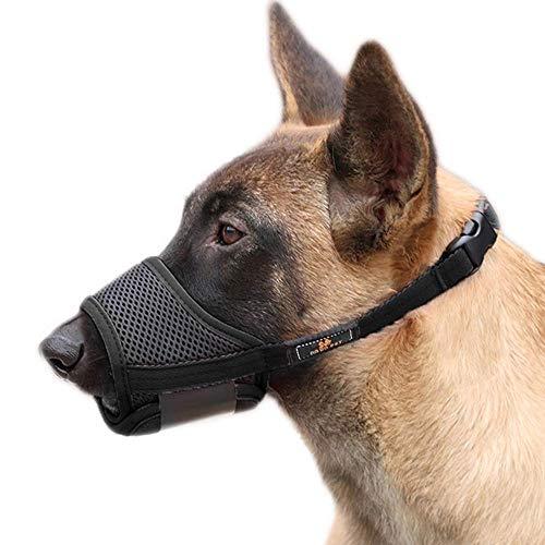 PETEMOO Bozal para Perros - Bozal Anti-mordedor Secure Fit Bozal para Perros - Malla Transpirable con Forma de Boca para Perros pequeños y Grandes