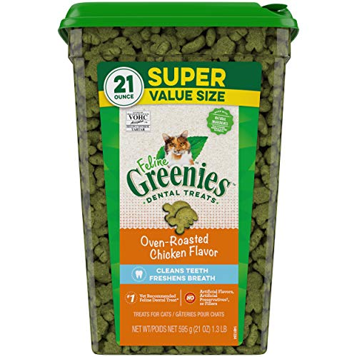 Greenies FELINE Dental Treats Oven Roasted Chicken Flavor 21 Ounces