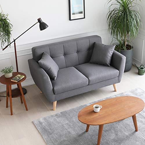 Mc Haus - Sofa Mas gris oscuro 2 plazas diseño nordico salon comedor 150x80x85cm