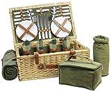 HappyPicnic - Cesta de picnic de mimbre con servicio de lujo para 4 personas, cesta de picnic de mimbre natural con manta de picnic, Natural con paño verde-4
