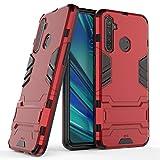 Max Power Digital Funda para móvil Realme 5 Pro (6.3') con Soporte - Carcasa Híbrida Antigolpes Resistente (Realme 5 Pro, Rojo)