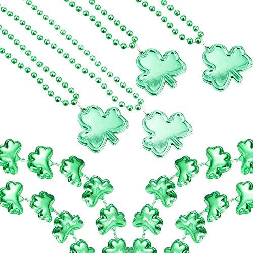 jojofuny 8 Collares del Día de San Patricio con Medallón de Trébol Irlandés Colgante de Cuentas Joyería de Fiesta de San Patricio Favores Accesorios de Disfraz Verde