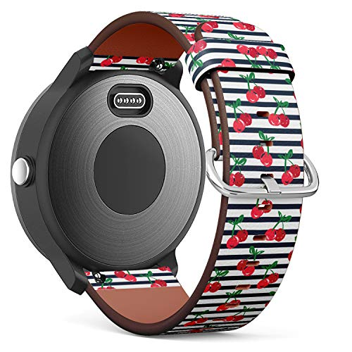 Replacement Leather Strap Printing Wristbands Compatible with Garmin Vivoactive 3 / Vivoactive 3 Music/Vivomove - Hand Drawn Cherry Vector on Stripes
