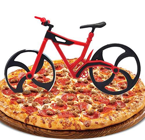 ZAWTR Fahrrad Pizzaschneider, Lustige Pizza Schneider Edelstahl Kunststoff Pizzaroller Pizzarad Pizzamesser, Pizza Cutter mit Scharfem Schneiderad & Ständer für Weihnachten Kreativ Geschenke (Rot)