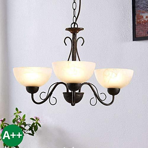 Lindby Pendelleuchte \'Mohija\' dimmbar (Landhaus, Vintage, Rustikal) in Schwarz aus Glas u.a. für Wohnzimmer & Esszimmer (3 flammig, E27, A++) - Deckenlampe, Esstischlampe, Hängelampe, Hängeleuchte