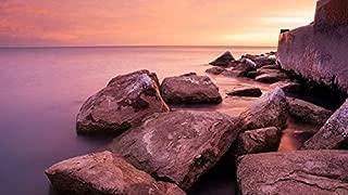 YYAYA.DS Chicago Hyde park Michigan shore sunrise sea - Art Print Silk Fabric Cloth Wall Poster Print 24x13 Inches