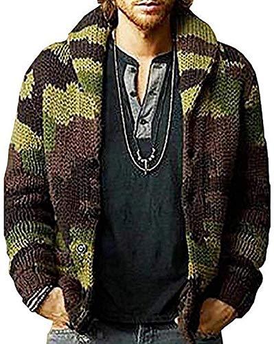 Chaqueta de punto de manga larga de camuflaje con botones y cuello de chal para hombre