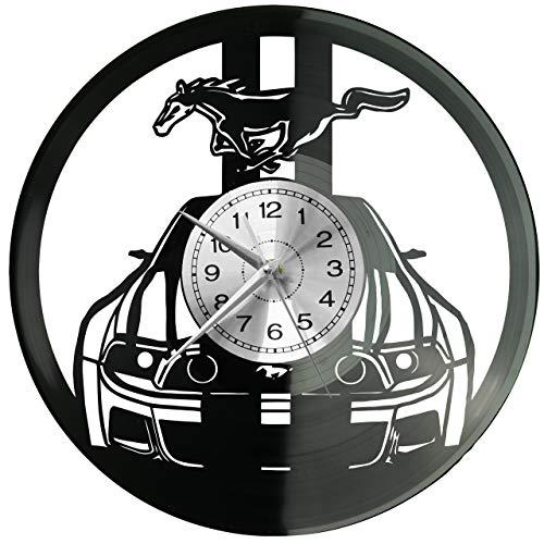 Ford Mustang Wanduhr Uhr Vinyl Schallplatte Retro-Uhr groß Uhren Style Raum Home Dekorationen Tolles Geschenk Decor Raum Inspirierende Wand Vinyl Record Kovides Vinyl Home