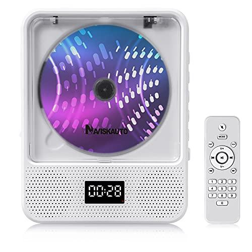 Reproductor de CD portátil para Montar en la Pared con Altavoces de Alta fidelidad, Bluetooth, Radio FM para el hogar, batería Recargable, Control Remoto, Color Blanco - NAVISKAUTO