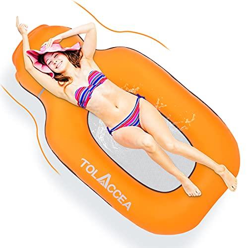 Tolaccea Aufblasbarer Wasserhängematte, Pool Lounge Luftmatratze für Erwachsene und Kinder, Tragbares Aufblasbare Hängematte mit Tragebeutel und wasserdichte Handytasche, Aufblasbares Schwimmbett