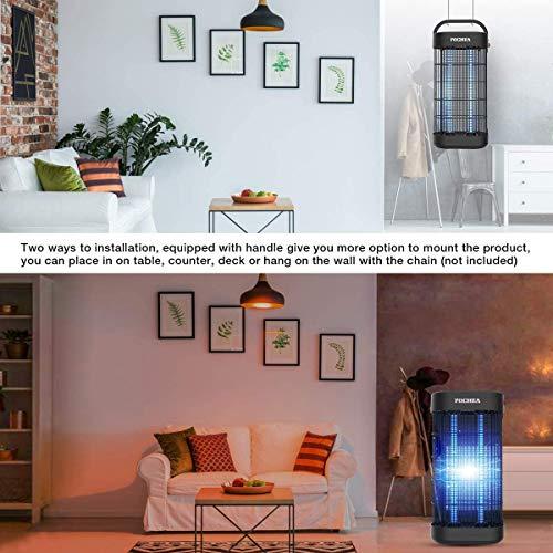 FOCHEA Zanzariera Elettrica, 22W Lampada Antizanzare con Luce UV e Vassoio di Raccolta Ammazza Zanzare per Casa Giardino Interno Esterno, 1 Tubo di Ricambio Gratuito