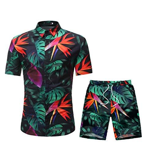 DAY8 Ensemble Homme Short Et Chemise Manche Courte Set Sportswear Homme Ensembles 2 Pièce Survetement Homme Ete Hawaïenne Decontracte Grande Taille Chic Jogging (Noir, XL)