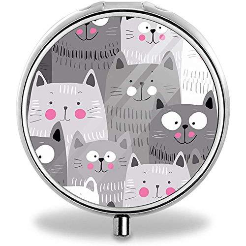 Scatola regalo personalizzata per pillole in metallo decorativo Organizzatore di vitamine in metallo Regalo unico (stress nei gatti)