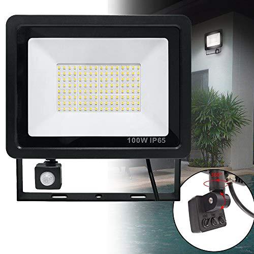 100W LED Fluter mit Bewegungsmelder 3 modi - LED Strahler IP65 wasserdicht Aluminium Scheinwerfer Licht - für Garten, Garage, Hof oder Hote, Kaltweiß