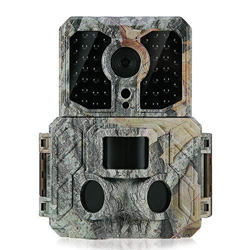 JLCN Wildkamera Fotofalle HD Jagdkamera Hinterkamera 1080P 30fps Mit 32 Stück 850NM IR-LEDs Nachtsicht, 0,2 S Auslösezeit 20 M Reichweite