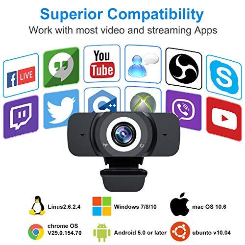 Webcam Full HD 1080P con micrófono, cámara panorámica de 90 grados USB de 90 grados para ordenador portátil en directo Streaming Webcam para juegos, videoconferencias, trabajo en línea, vídeo llamadas (soporte D) miniatura