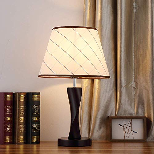 Z.L.Q Desk lamp LED Creative Table Lamp Bedroom Bedside Lamp Solid Wood Living Room Remote Control Dimmable Warm Light Wooden Table Lamp (Color : Black) (Color : White)