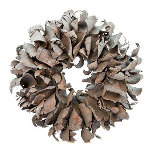 Naturkranz Deko Ø25cm in dunkelgrau, gefertigt aus Palmblättern | Türkranz ganzjährig zum hängen oder als Tischdekoration im Shabby chic Design | Zeitloses Wohnaccessoir als Landhaus Natur-Deko