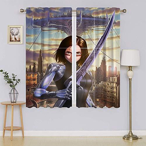 Alita Battle Angel - Cortina opaca para ventana, panel y puerta corredera, cortinas aisladas con eficiencia energética para dormitorio (55 x 45 pulgadas)