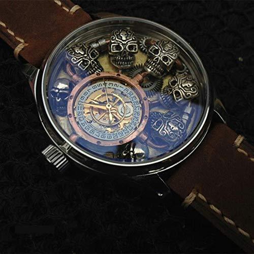 xiaoxioaguo Reloj automático mecánico de los hombres de plata de ley cráneo impermeable reloj de los hombres steampunk personalidad de negocios reloj de cuero