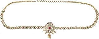 Anuradha Art Green-Pink Colour Wonderful Studded American Diamonds Stone Belly Chain/Kamar Patta for Women/Girls