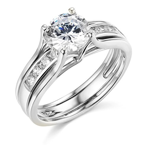 TWJC 14k White Gold Solid Engagement Ring & Wedding Band Set - Size 7