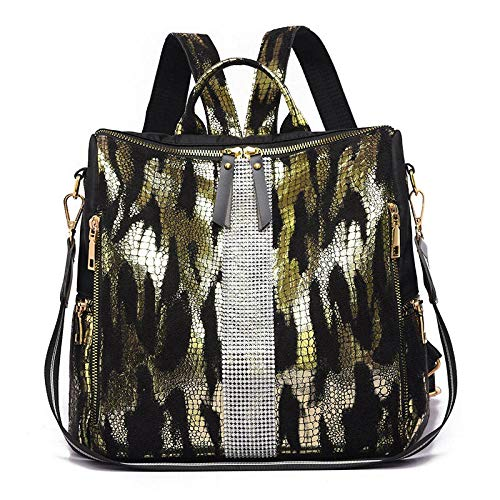 ZYSTMCQZ Tiger Pattern Women Backpacks Waterproof fashion Shoulder Bag for Women Oxford Cloth School Bag for Teenager Girl (Color : Gold)