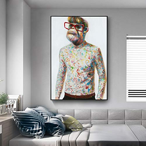 YIYEBAOFU DIY Malen nach Zahlen Moderner einfacher Tierstil des Gentleman-Stils auf Männeranzug, der Wandbild auf Wohnzimmerwandbild malt40x60cm(Kein Rahmen)