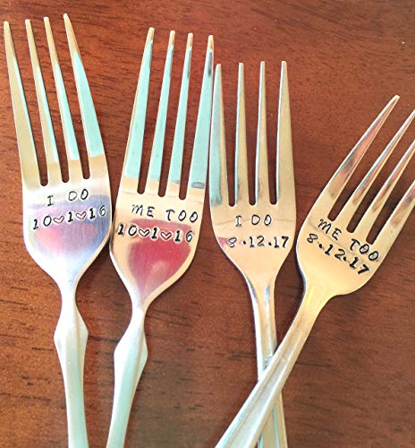 I Do/Me Too Fork Set for the Bride and Groom ~ Hand Stamped Fork Set. Unique Wedding/Shower / Engagement Gift. Can Be Personalized