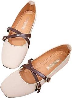 [MengFan] パンプス ローヒール 夏 靴 レディース シューズ フラット ぺたんこ ストラップ シンプル 滑り止め 歩きやすい カジュアル 美脚 女性用 日常 ショッピング 痛くない
