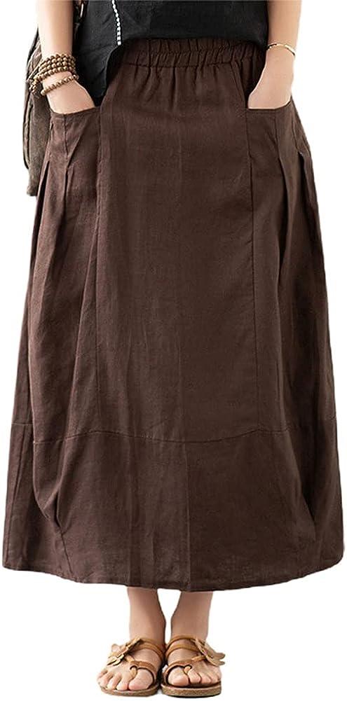 chouyatou Women's Elastic Waist A-Line Pleated Comfy Cotton Linen Midi Skirt